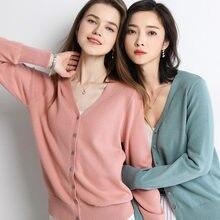 Cardigan tricoté en cachemire pour femme, pull de Style coréen, col en V, à manches longues, décontracté, nouvelle collection automne, 69