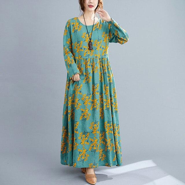 Cotton Loose Women Casual Spring Dress Long Sleeve Autumn Dress Plus Size Long Maxi Dress Print Floral Female Vintage Dress 5