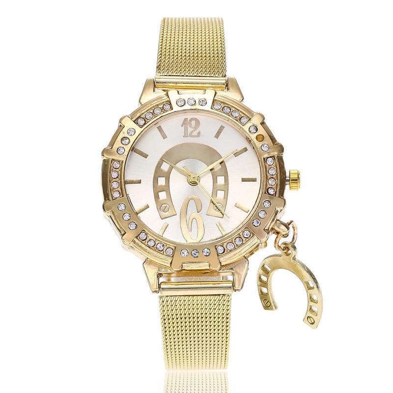 Cross Border Fashion Women's Gold Net Belt Watch Watch Watch Pendant Women's Watch Student Fashion Watch Wholesale