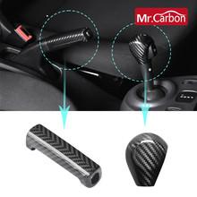 Centralny zamek samochodu z włókna węglowego biegów hamulca ręcznego dekoracyjna naklejka na nowy smart 453fortwo forfour Car styling akcesoria remontowe tanie tanio NoEnName_Null carbon fiber Uchwyty hamulca ręcznego MK-55