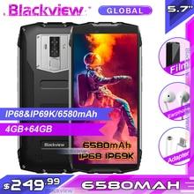 "Blackview smartphone bv6800 pro, telefone celular, tela 5.7 "", 6580mah, a prova d água ip68, 16mp, nfc, 4gb, 64gb, android 8.0"