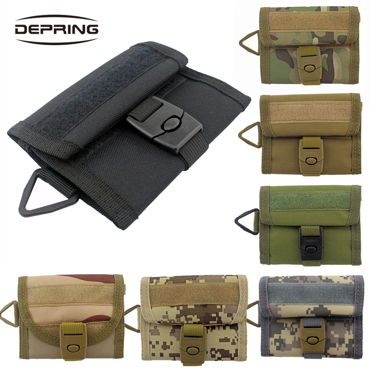 7 Colors New Arrival 800D Nylon Military Outdoor Sports Wallet Purse Mesh Pocket Hook Loop And Buckle Cloure Tactical Molle Bag