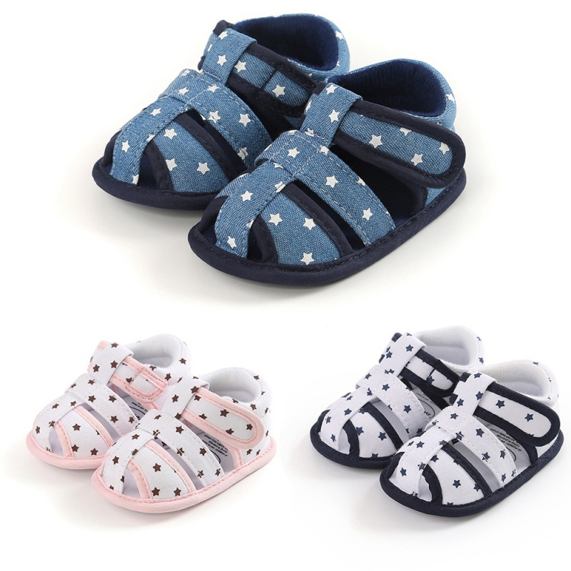 0-18M Infant Baby Star Print Sandals Kid Boy Girl Soft Sole Crib Shoes Toddler Summer Sandals Shoes