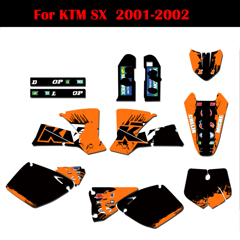 For KTM 125 250 525 SX 2001 2002 Custom Motocross Graphics & Backgrounds Stickers Decal Kit Trail Bike