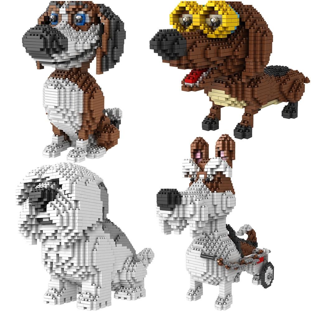 BS Dachshund Glasses Brown Dog Pet Animal Diamond Mini Building Nano Blocks Toy