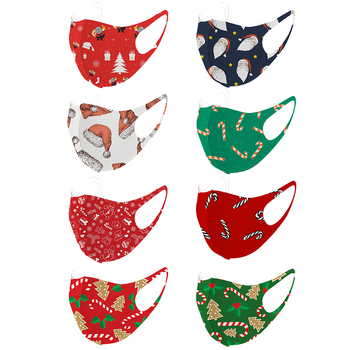Christmas Series Print Face Mask 3D Knitted Mask Summer Ice Cotton Mouth Scarf Cover Face Shield Dustproof Mouth Face Cover 2020 недорого