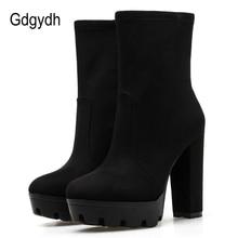 Gdgydh New Black Suede Boots Block Heel Platform Shoes Rubber Sole Back Zipper Solid Color Ankle Boots For Women Plus Size 42 все цены