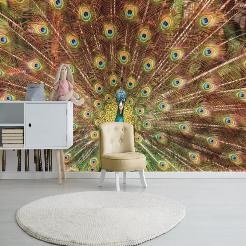 Peacock Feather Simple 3D Mural Company Hotel Office Hall TV Backdrop Wallpaper