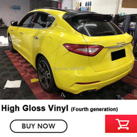 Yellow Car styling Glossy Vinyl Film Sticker Foil Bubble Free Car Body Wrapping Motorcycle Automobiles Warranty 5 years quality