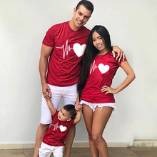 Boys T-Shirt Outfits Christmas Heartbeat Family Matching Girl Baby Son Lovely Me Mom Dad