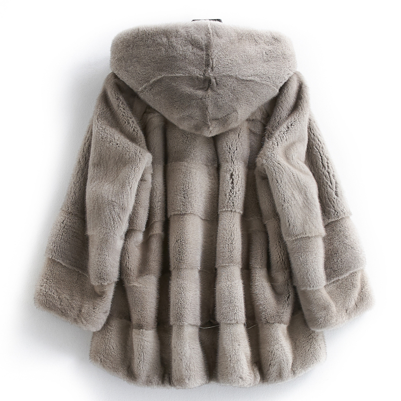 Real Luxury Mink Coat Female Natural Fur Coats Winter Jacket Women Hooded Warm Jackets Plus Size Manteau Femme MY4148 S S