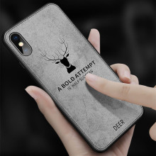 Cloth Texture 3D Christmas Deer Phone Case For iphone XS Max 7 8 6 6S Plus Luxury Retro Leathe Soft Cover Cases X XR