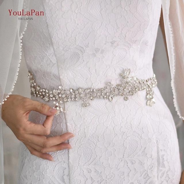 TOPQUEEN SH259 Silver Diamond Belt Bridal Belt Purple Rhinestone Belt Wedding Sash Belt Floral Bridal Sash Belt White Bride Belt
