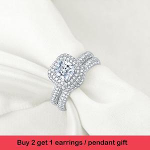 Image 2 - Newshe sólida plata 925 anillos de boda para mujeres 2,9 Ct corte cojín AAA CZ anillo de compromiso conjunto nupcial