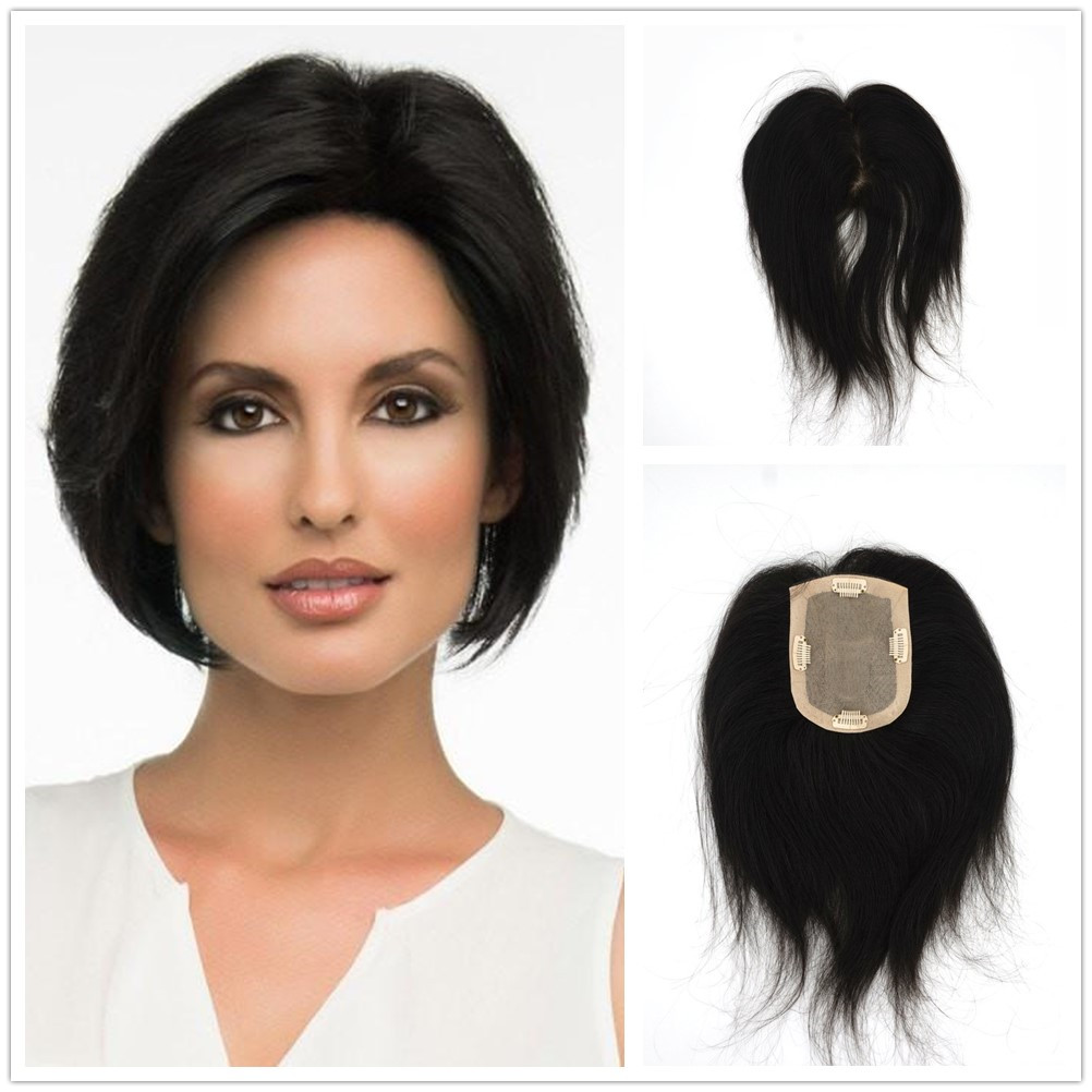 Hstonir Silk Base Women Crown Indian Remy Hair Replacement System Topper Top Piece Wig TP01