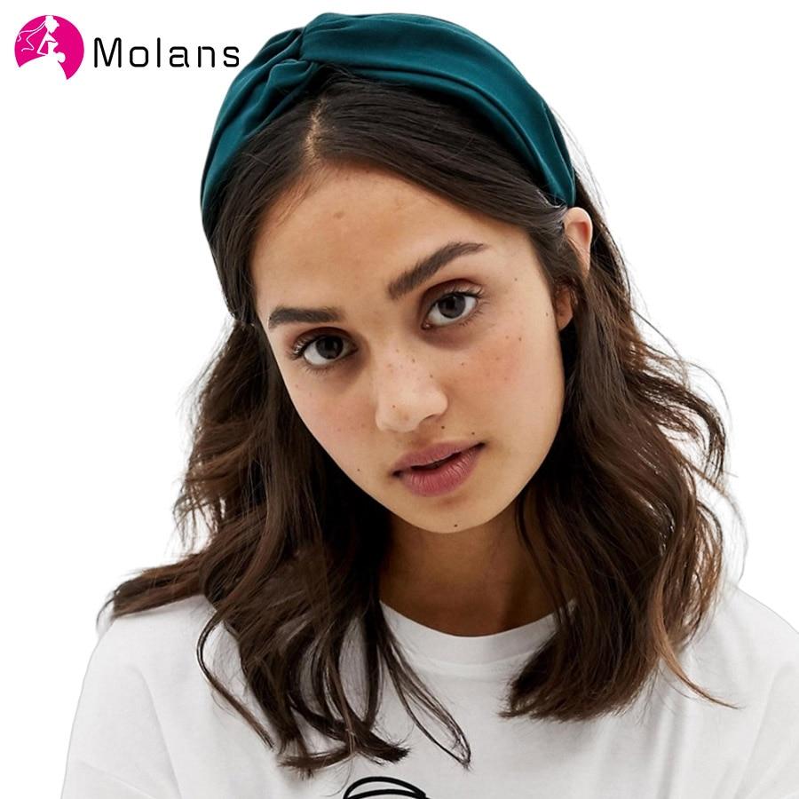 Molans Womens Wide Headband Solid Twist Hairband Yellow Green Knot Cross Headwrap Hair Band Hoop Headwear Hair Bands Accessories
