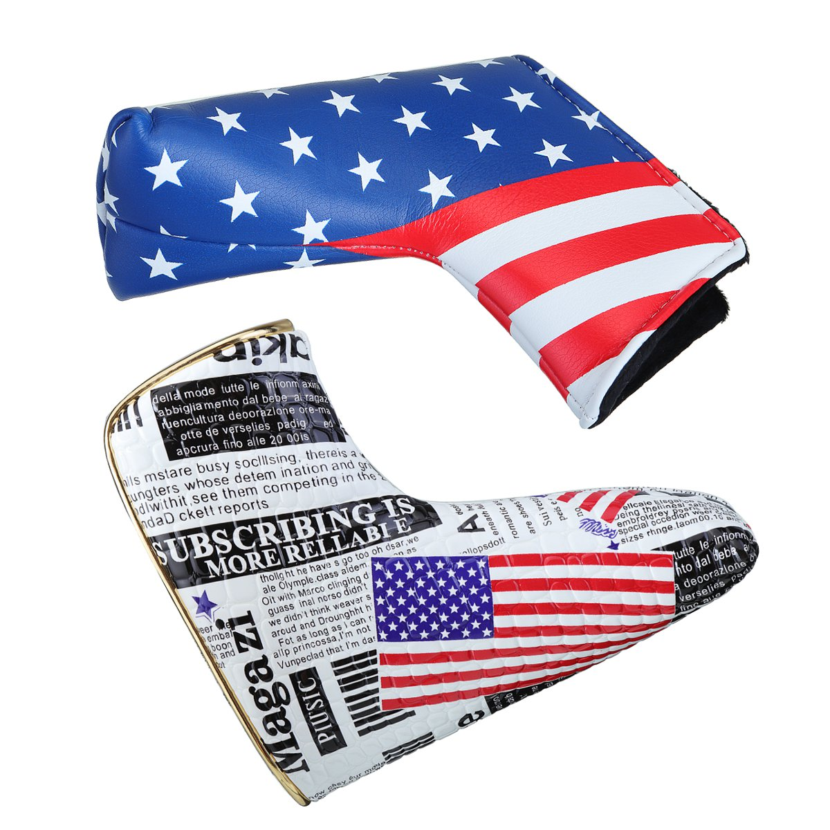 USA Flag Golf Blade Putter Head Cover PU Waterproof Headcover Protector Bag With Magnetic Closure Golf Club Head Accessories