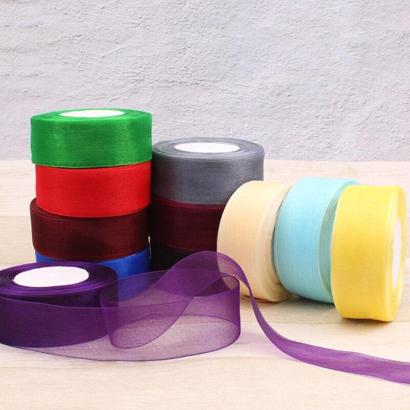 (50 ярдов/рулон) 12/15/20/25/40/50 мм подарочная лента из органзы украшение для упаковки рождественские шелковые ленты для свадьбы сделай сам, поделки ручной работы|Ленты|   | АлиЭкспресс