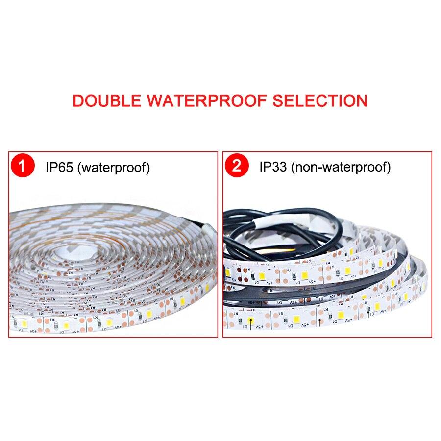 5V USB LED Strip Light Waterproof Kitchen Cabinet Light Warm White/White/RGB LED Strip 2835 TV Background Lighting Decor Lights