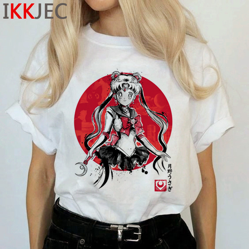 Kawaii Sailor Moon Funny Cartoon T Shirts Women Harajuku Ullzang Cute T-shirt Usagi Graphic Tshirts Korean Style Top Tees Female 7