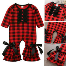 Goocheer Fashion Cute NEW Autumn Newborn Baby Girl Plaids Ruffle Bodysuit Jumpsu