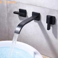 Escondido montagem na parede torneira da bacia do banheiro misturador de água quente e fria grifos preto bronze pia lavatório cromo kranen