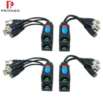 Cable de transmisión de vídeo Balun HD de 8MP Pripaso, 4 pares, transmisor de par trenzado BNC a RJ45, adaptador, compatible con cámara HDCVI TVI AHD