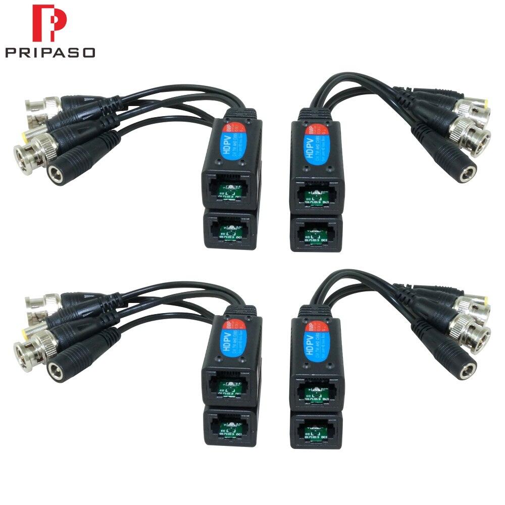 Pripaso 4 pares 8mp hd vídeo balun cabo transmissão trançado par transmissor bnc para rj45 adaptador suporte hdcvi tvi ahd câmera