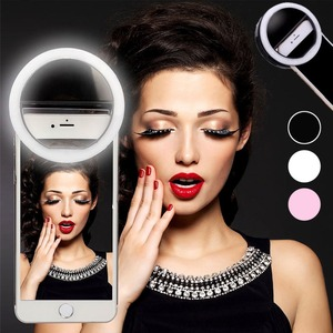 Makeup Mirror Mobile Phone Selfie Light USB Charging LED Mobile Phone Selfie Lamp Ring Darkness Photo Fill Light Beauty Tools(China)
