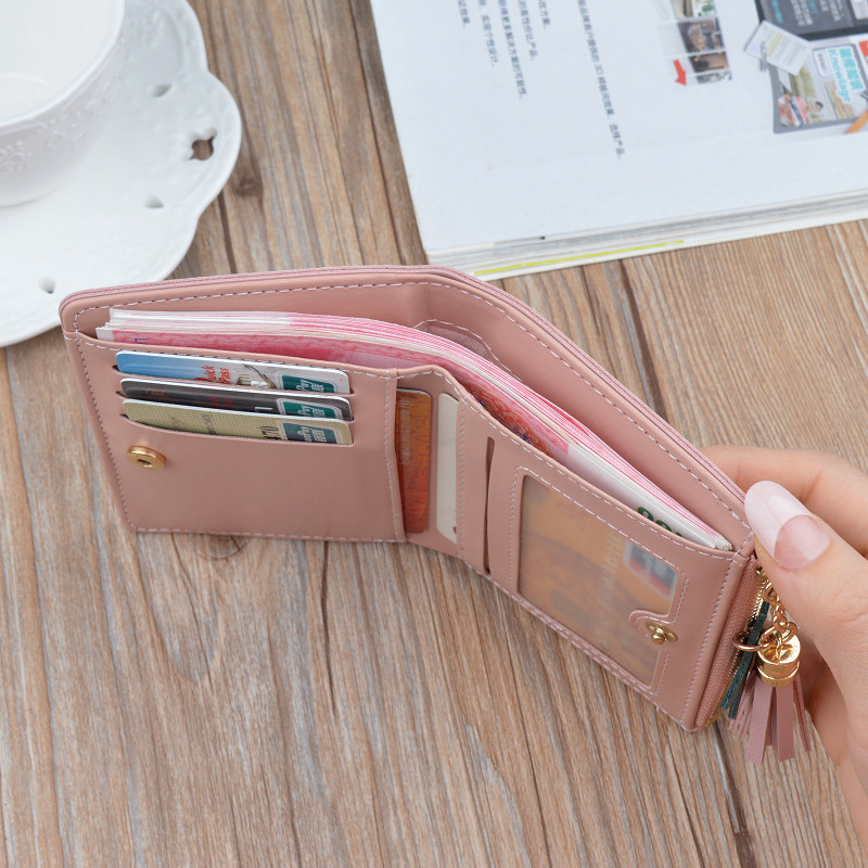 2020 2020 Women Wallets With Zipper Pink Phone Pocket Purse Card Holder Patchwork Women Long Wallet Lady Tassel Short Coin Purse