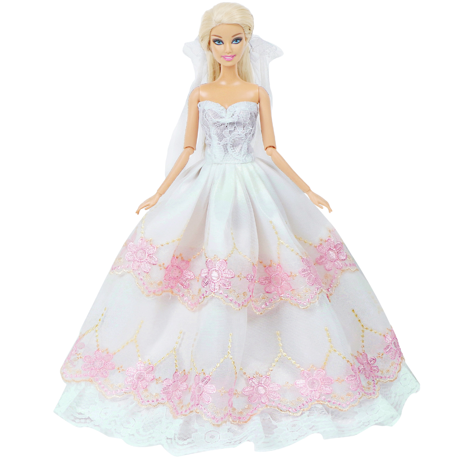 Barbie White Fashion Royalty Party Princess Dress Clothes//Gown For 30CM Doll