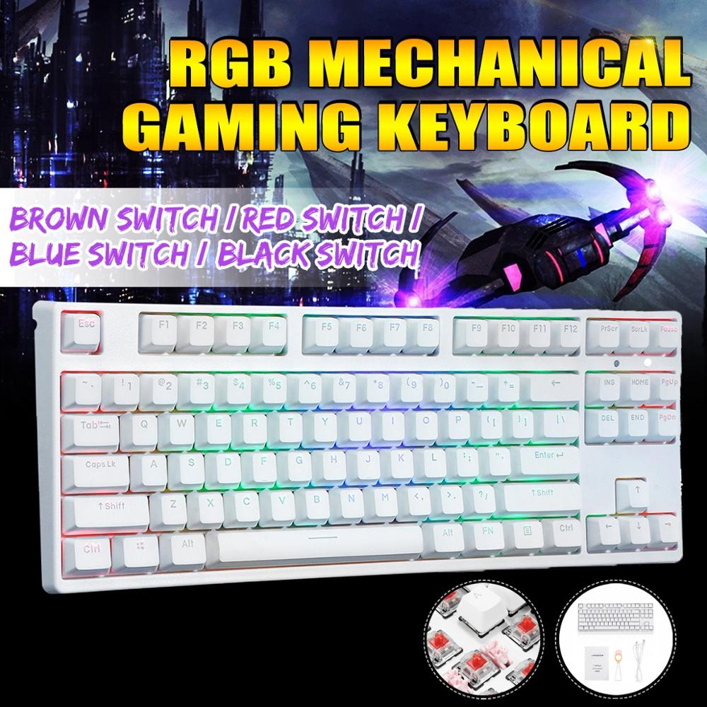 87 Key NKRO USB Wired RGB Backlit Gateron Switch PBT Double Shot Keycaps Mechanical Gaming Keyboard For E-sport Office PC Laptop