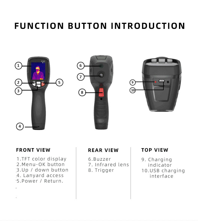 Infrared Thermal Camera With Live Streaming to Computer or TV Bluetooth For Human Body 36