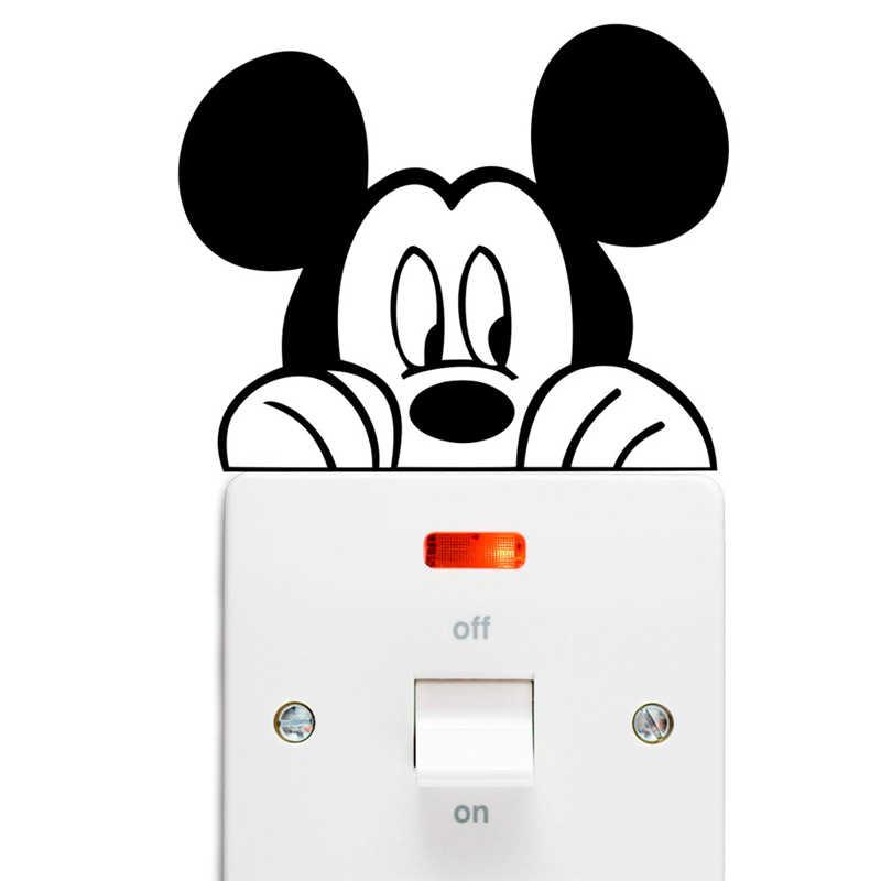 Disney Mickey Minnie Mouse Schakelaar Stickers Slaapkamer Home Decor Accessoires Cartoon Muurstickers Vinyl Muurschilderingen Diy Decoratie