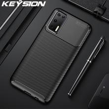 Keysion Shockproof Phone Case Voor Huawei P40 Pro P40 Lite E P30 Carbon Fiber Textuur Back Cover Voor Huawei Mate 30 Pro P20 Lite