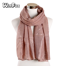 Winfox Yellow Red Glitter Gold Scarf for Women Long Shawl Striped Shiny Female Wraps Foulard Hijabs Soft Beach Stoles