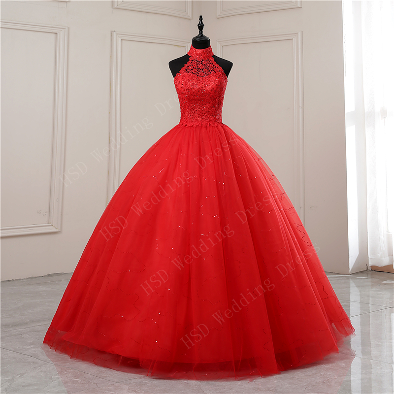Red White Applique 2020 Sweet  Princess Wedding Dress Strapless Plus Size Wedding Gowns Retro Lotus Bridal Dress