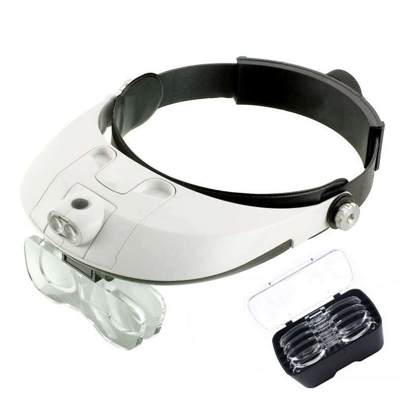 Safety Goggles Dual LED Lamp Glasses Magnifier,Lens Replaceable Magnifying Eyewear Glasses For Reading, Jewelry Maintain Repair