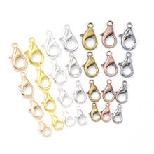 Ganchos de metal com fecho, 50 peças misturado 7 cores 10/12/14/16mm conectores final para produção de joias achados colar pulseira diy
