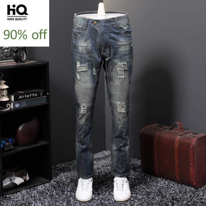 Fashion Mens Moto Biker Spring Summer New Hole Ripped Denim Pants Slim Fit Plus Size 29-40 Male Straight Casual Jeans Trousers