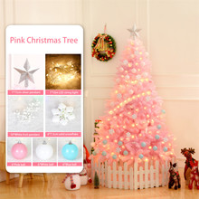 Cherry Pink Christmas Tree With LED Light DIY Artificial Xmas Party Holiday Ornament Home Decor Office Decoration