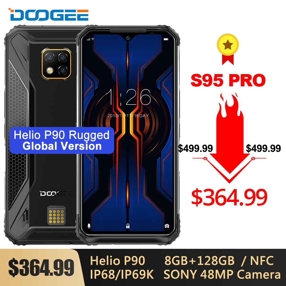 DOOGEE S95 Pro IP68/IP69K Modular Rugged Phone 6.3'' Helio P90 Octa Core 8GB 128GB 5150mAh Sony 48MP Triple Cam Android 9.0 NFC