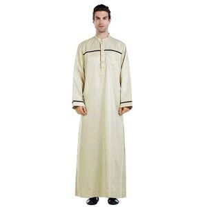 Image 4 - Männer Saudi Arabischen Männer Robe Dishdasha Thoub Moslemische Kleidung Langarm Kaftan Abaya Dubai Nahen Osten Islamischen Jubba Thobe Kleid neue
