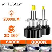 H1 H7 LED 360 H4 20000LM HB3 HB4 9012 HIR2 Led H11 H8 9006 9005 bombilla de faro delantero de coche de niebla para auto 6000K 8000K 12V HLXG