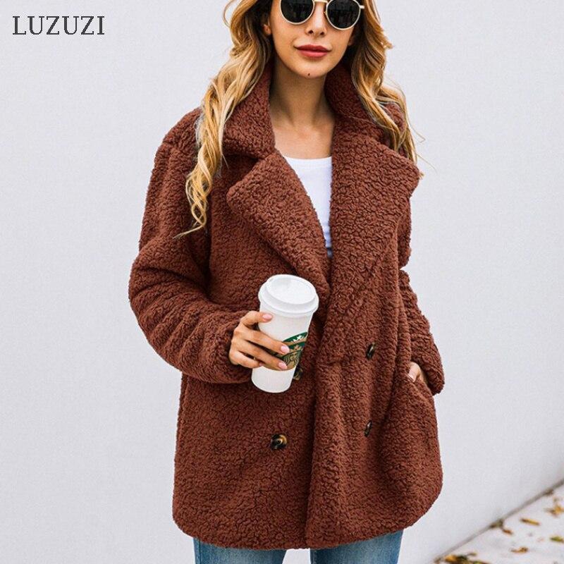 LUZUZI autumn winter double breasted women's jacket fur coat turndown collar loose plush coat women teddy jacket sheepskin coat|Faux Fur| - AliExpress
