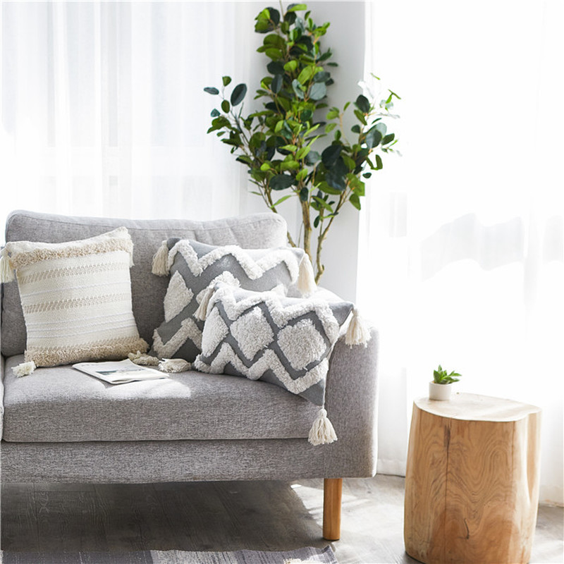 Image 3 - Home Decor Boho Pillowcase Sofa Cushion Cover Square Decor Pillows Bedroom Living Room Woven Modern Large Tassel Pillow CoverCushion Cover   -