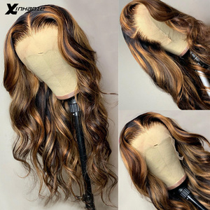 Ombre resalte peluca marrón rubio miel coloreada 13x6 profundo malla con división Frontal pelucas de cabello humano ondulado completa 360 peluca Frontal de encaje Remy