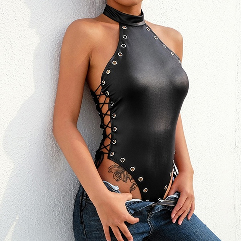 GAOKE Leather Black Bodysuit Women Female 2020 Halter Backless Jumpsuit Sexy Bodycon Bodys Summer Pu Black Bodysuits Female
