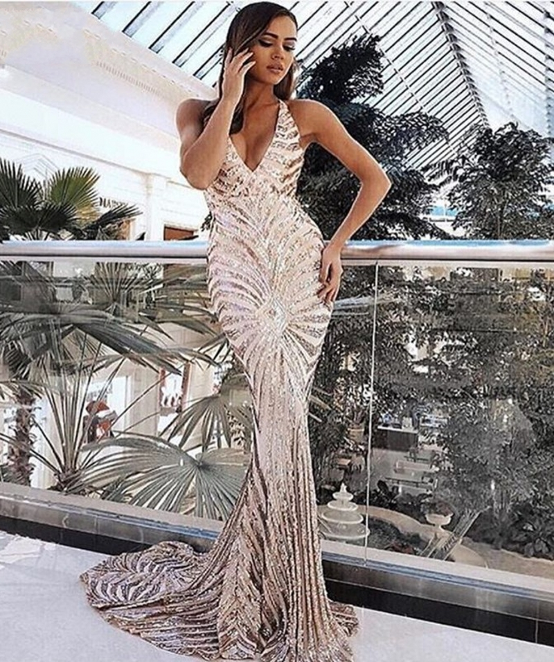 Sexy Black Rose Gold Sequin Prom Dresses Mermaid 2019 Long Spaghetti Straps Black Maxi Women Formal Evening Party Dress Cheap