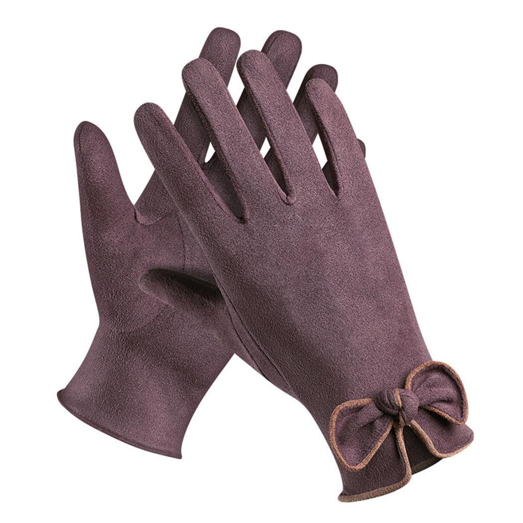 Женские замшевые перчатки с сенсорным экраном, зимние уличные перчатки с бантом, зимние теплые перчатки для бега, альпинизма, активного отдыха